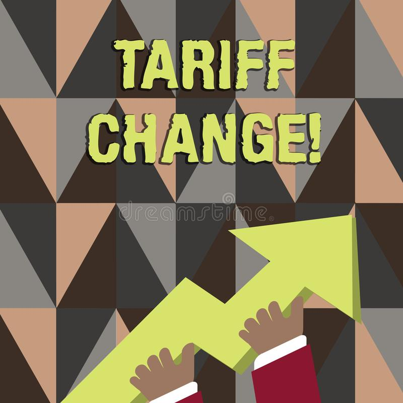 Word writing text Tariff Change. Business concept for Changes on tax imposed on imported goods and services photo of. Word writing text Tariff Change. Business royalty free illustration