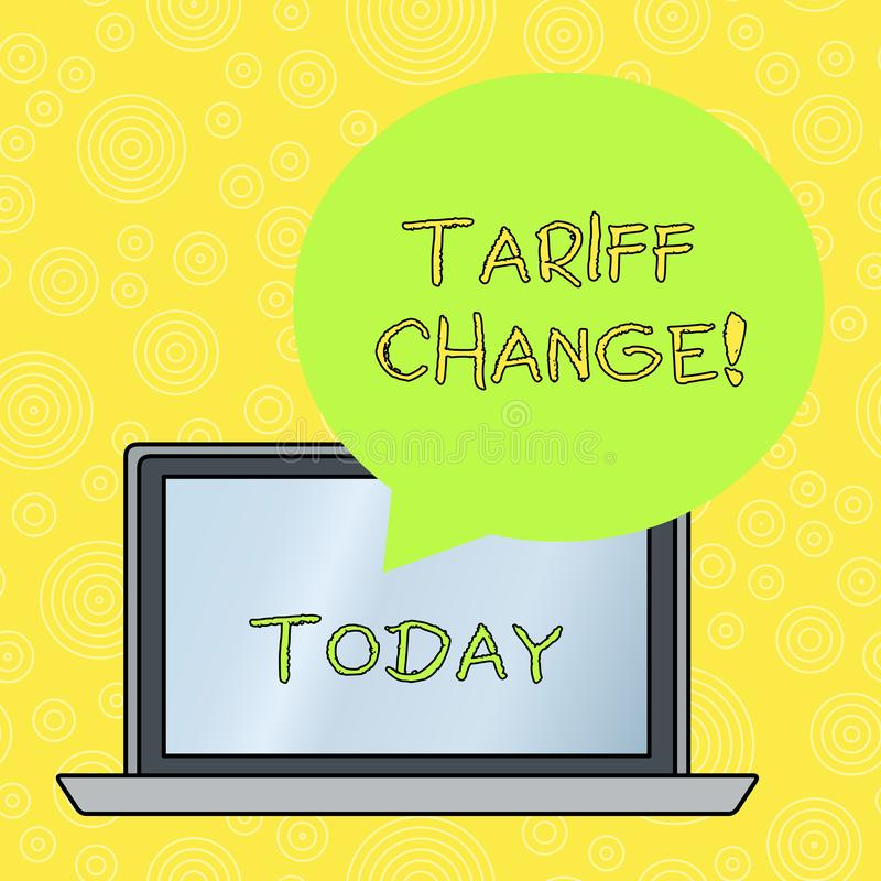 Word writing text Tariff Change. Business concept for Changes on tax imposed on imported goods and services Round Shape. Word writing text Tariff Change vector illustration