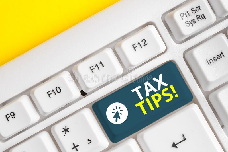 Word writing text Tax Tips. Business concept for compulsory contribution to state revenue levied by government White pc. Word writing text Tax Tips. Business stock photos