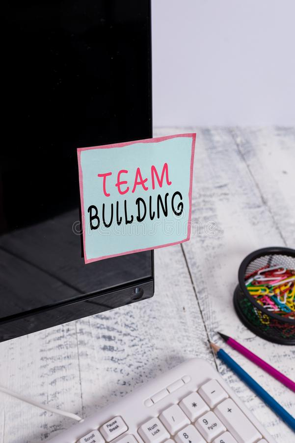 Word writing text Team Building. Business concept for various types of activities used to enhance social relations Note. Word writing text Team Building stock photos