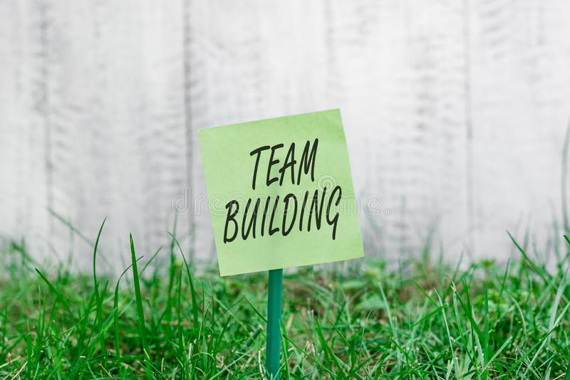 Word writing text Team Building. Business concept for various types of activities used to enhance social relations Plain. Word writing text Team Building stock photography