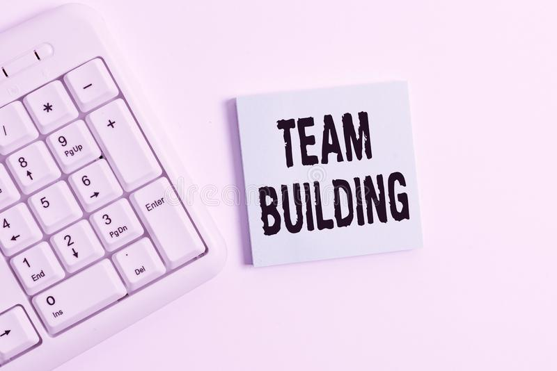 Word writing text Team Building. Business concept for various types of activities used to enhance social relations White. Word writing text Team Building royalty free stock photography