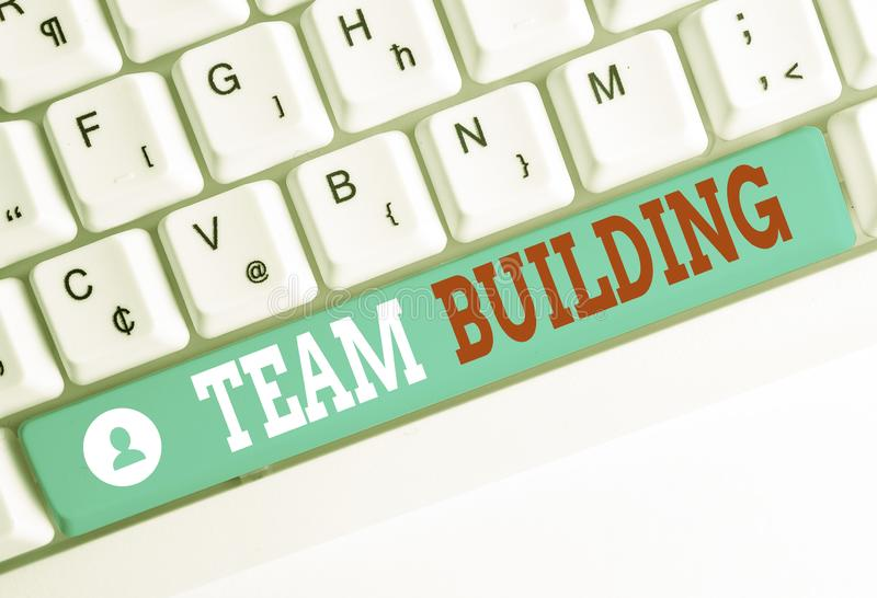 Word writing text Team Building. Business concept for various types of activities used to enhance social relations White. Word writing text Team Building stock photos