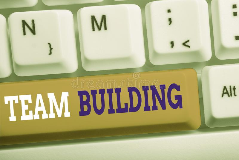 Word writing text Team Building. Business concept for various types of activities used to enhance social relations White. Word writing text Team Building stock image