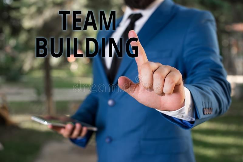 Word writing text Team Building. Business concept for various types of activities used to enhance social relations. Word writing text Team Building. Business stock photography