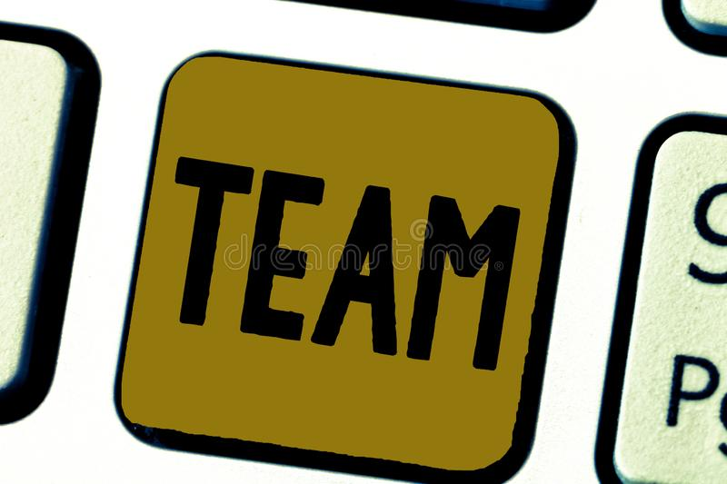 Word writing text Team. Business concept for Group of people working together Classed and share certain beliefs.  stock images