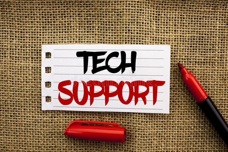 Word writing text Tech Support. Business concept for Help given by technician Online or Call Center Customer Service written on No stock images