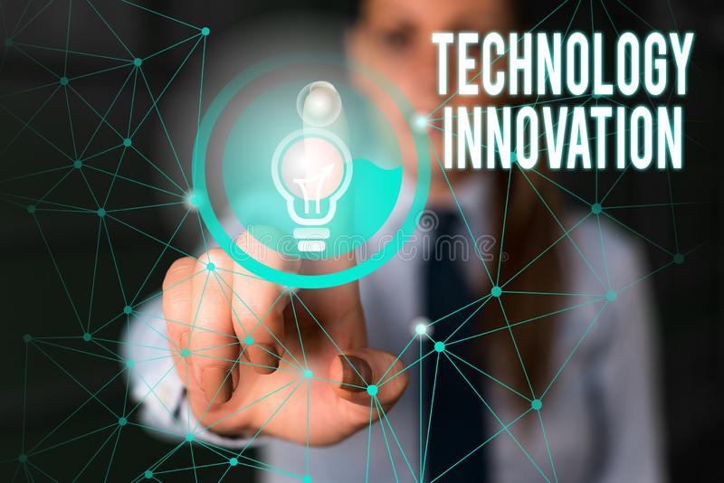 Word writing text Technology Innovation. Business concept for significant technological changes of products Female human. Word writing text Technology Innovation royalty free stock image