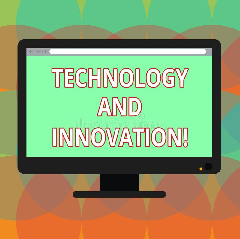 Word writing text Technology And Innovation. Business concept for Technological changes of products and services Blank Computer. Desktop Monitor Color Screen royalty free illustration