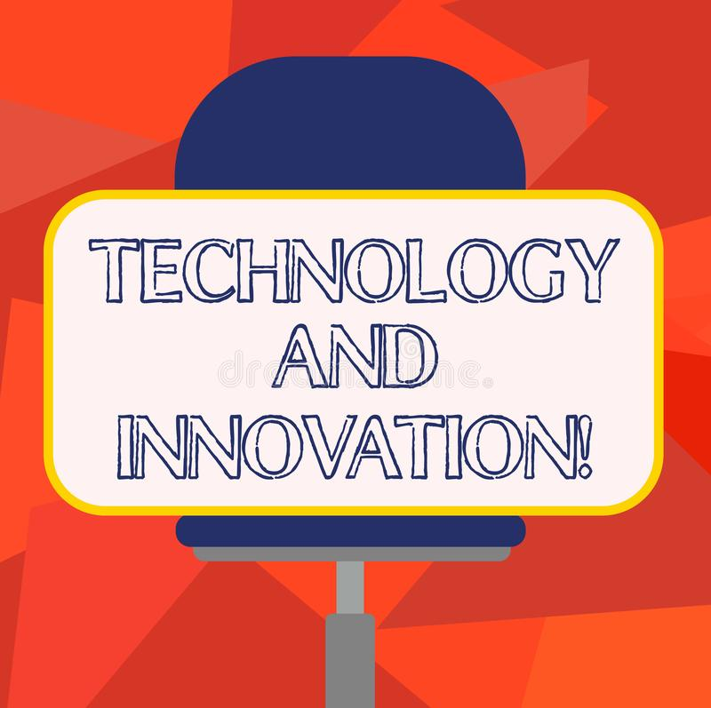 Word writing text Technology And Innovation. Business concept for Technological changes of products and services Blank. Rectangular Shape Sticker Sitting royalty free illustration