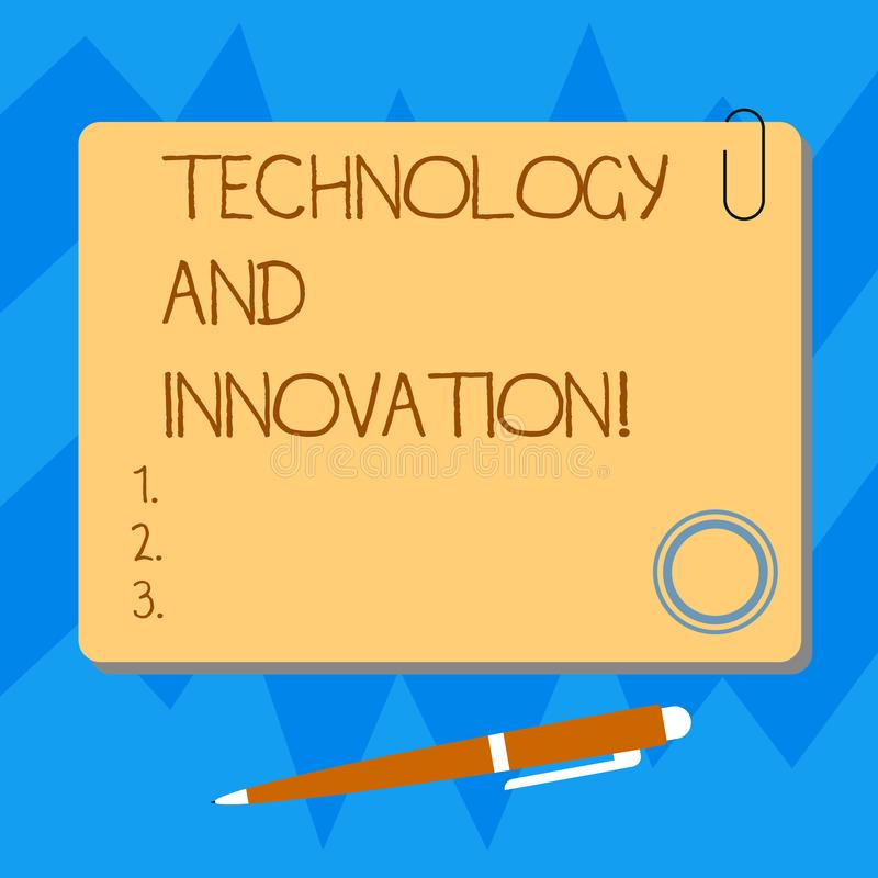 Word writing text Technology And Innovation. Business concept for Technological changes of products and services Blank Square. Color Board with Magnet Click royalty free illustration