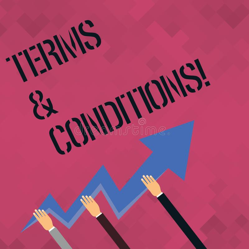 Word writing text Terms And Conditions. Business concept for Legal Law Agreement Disclaimer Restrictions Settlement. Word writing text Terms And Conditions vector illustration