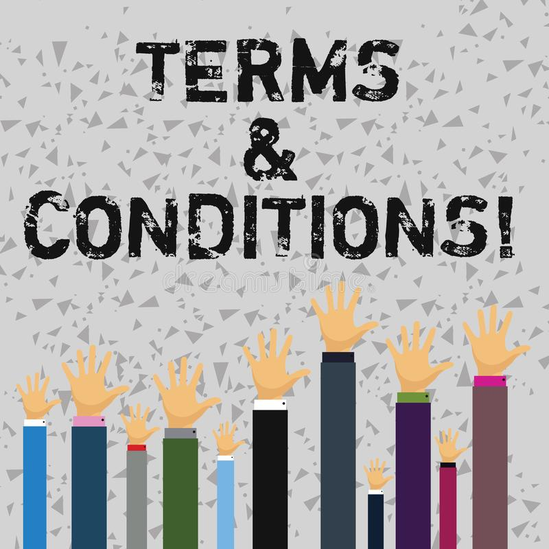 Word writing text Terms And Conditions. Business concept for Legal Law Agreement Disclaimer Restrictions Settlement. Word writing text Terms And Conditions royalty free illustration