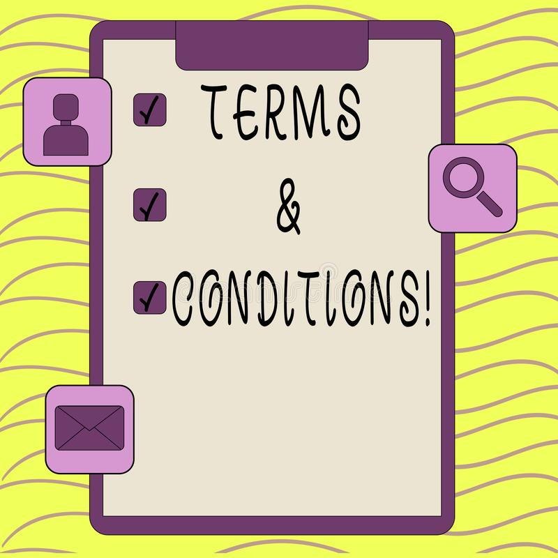 Word writing text Terms And Conditions. Business concept for Legal Law Agreement Disclaimer Restrictions Settlement. Word writing text Terms And Conditions stock illustration