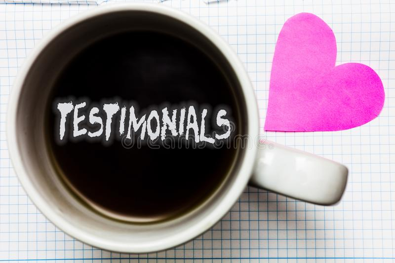 Word writing text Testimonials. Business concept for Customers formal endorsement statement experience of someone Mug coffee lovel. Y thoughts ideas creative royalty free stock photos