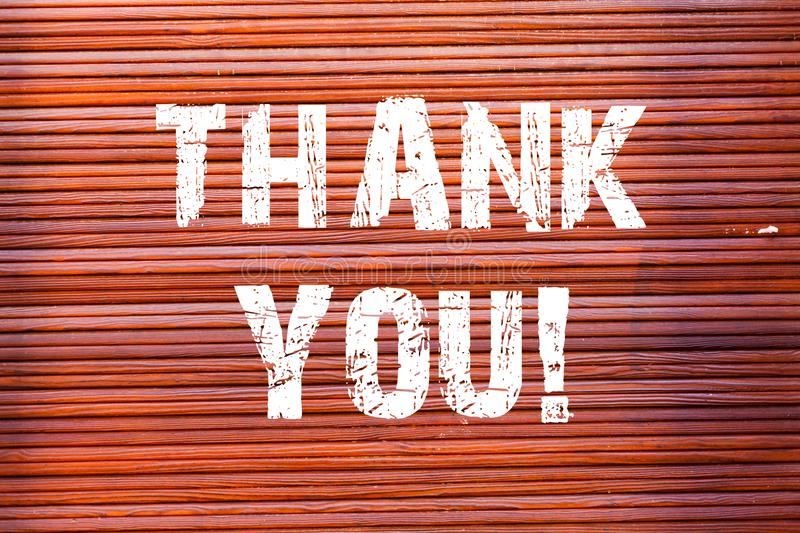 Word writing text Thank You. Business concept for polite expression used when acknowledging gift service compliment royalty free stock image