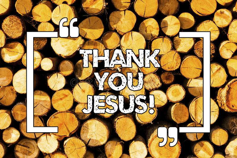 Word writing text Thank You Jesus. Business concept for Being grateful for what the Lord has given you Religious Wooden. Background vintage wood wild message royalty free stock images