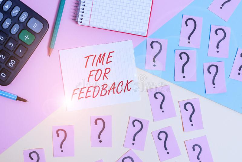 Word writing text Time For Feedback. Business concept for information about reactions to a product or services. Word writing text Time For Feedback. Business stock images