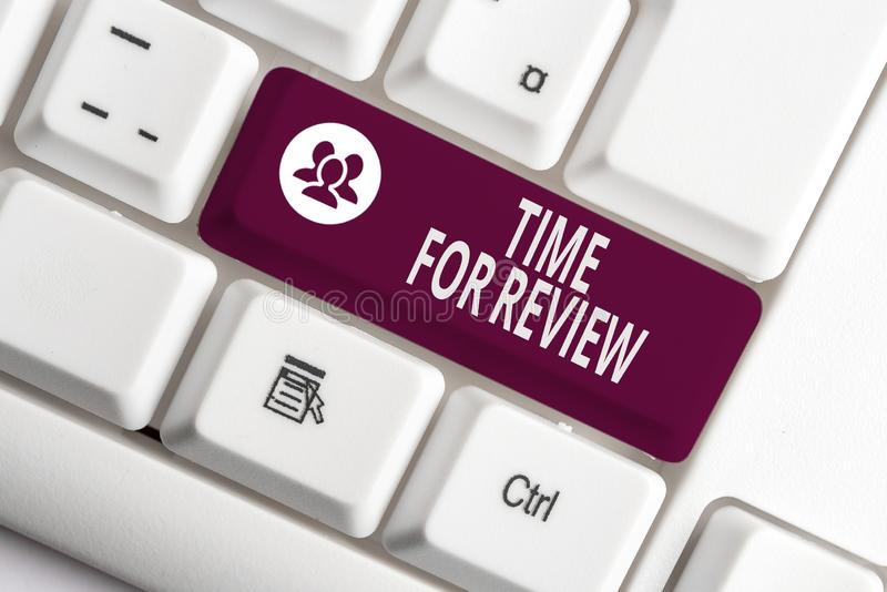 Word writing text Time For Review. Business concept for review of a system or situation in its formal examination White. Word writing text Time For Review stock images
