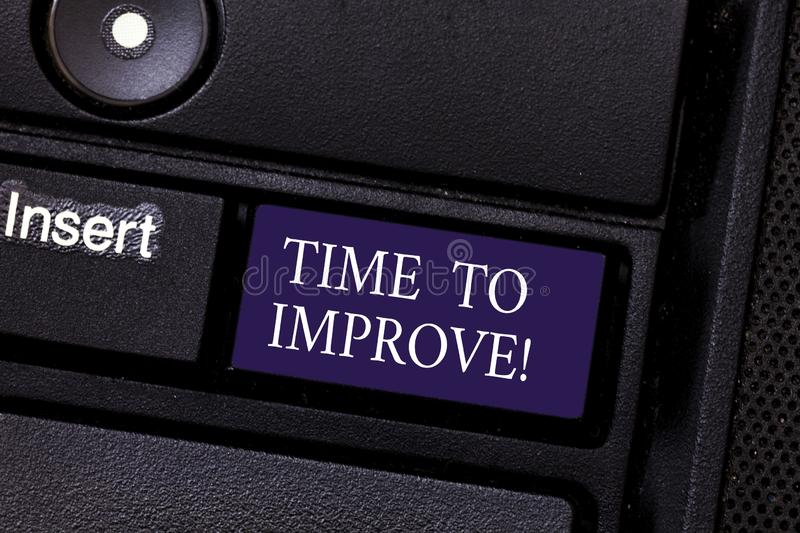 Word writing text Time To Improve. Business concept for Telling someone to develop himself Study hard Courses Keyboard. Key Intention to create computer message royalty free stock images
