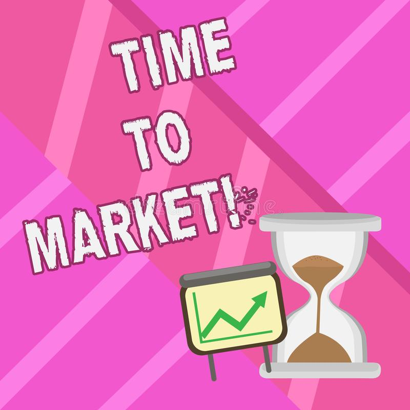 Word writing text Time To Market. Business concept for Right moment for making financial movements stock exchange. Word writing text Time To Market. Business royalty free illustration