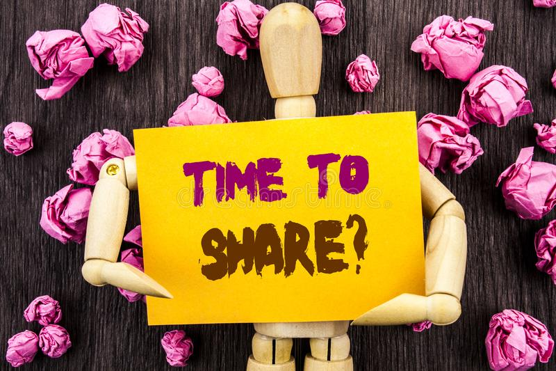 Word, writing, text Time To Share Question. Conceptual photo Your Story Sharing Feedback Suggestion Information written on Stick royalty free stock photo