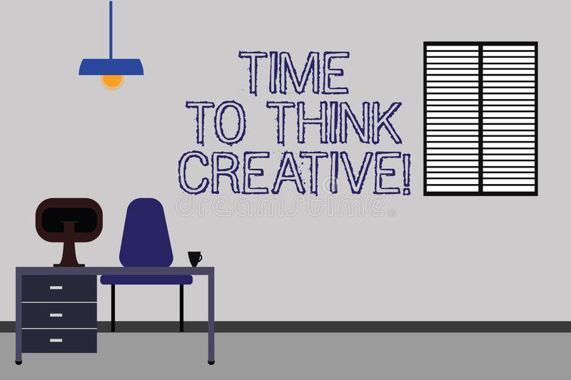 Word writing text Time To Think Creative. Business concept for Creativity original ideas thinking Inspiration Work Space royalty free stock image