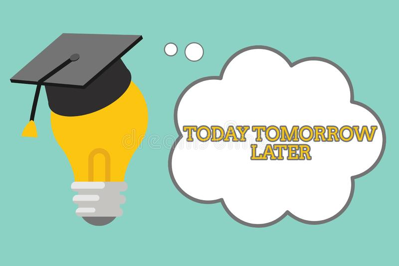 Word writing text Today Tomorrow Later. Business concept for Presently Currently Future Soon Afterwards Following.  stock illustration