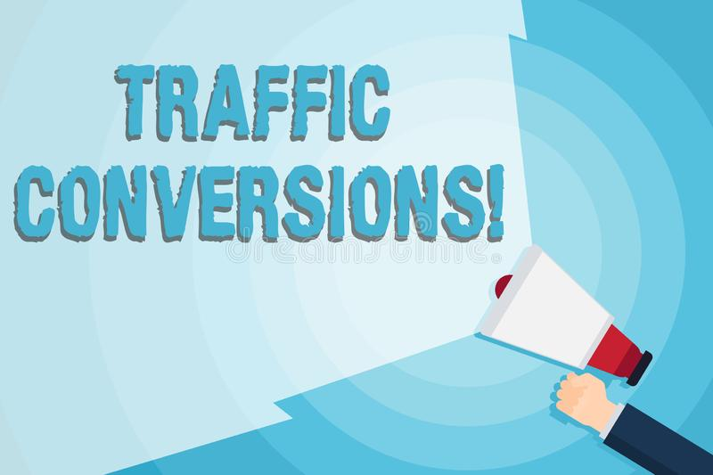 Word writing text Traffic Conversions. Business concept for visitor who has been converted into a client or customer. Word writing text Traffic Conversions royalty free illustration