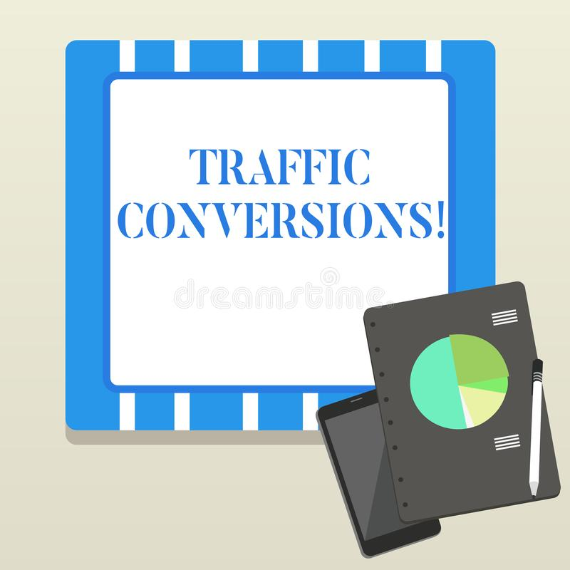 Word writing text Traffic Conversions. Business concept for visitor who has been converted into a client or customer. Word writing text Traffic Conversions vector illustration