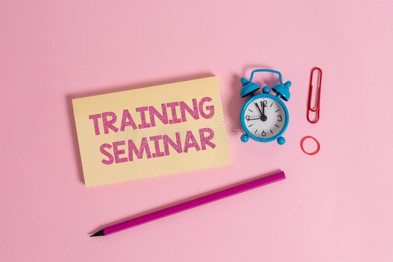 Word writing text Training Seminar. Business concept for Academic instruction Formal presentation of a research Colorful. Word writing text Training Seminar royalty free stock image