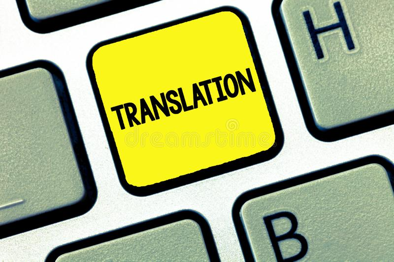Word writing text Translation. Business concept for Process of translating words text from one language into another.  stock photos