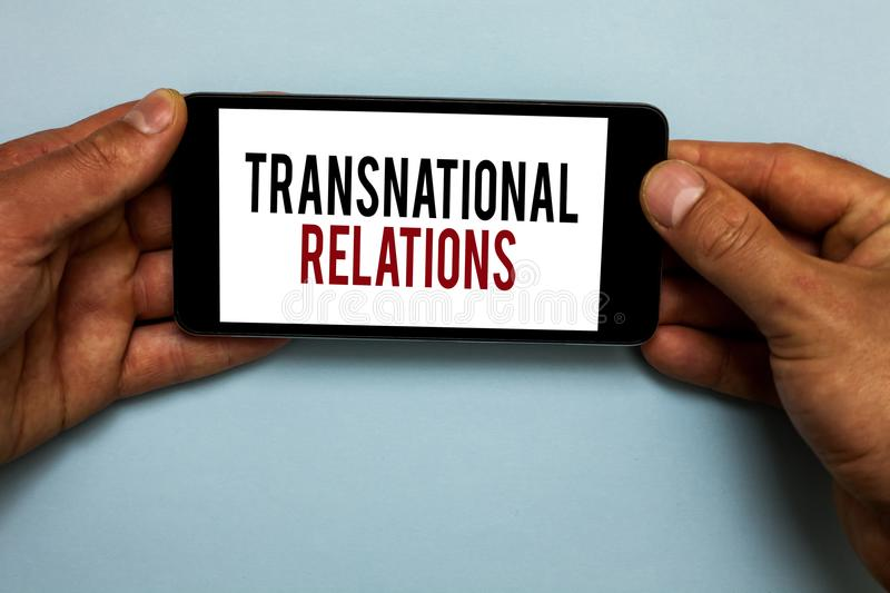 Word writing text Transnational Relations. Business concept for International Global Politics Relationship Diplomacy Human hand ho. Ld smartphone with red and royalty free stock photography