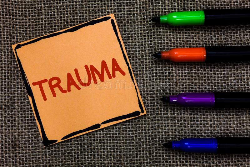 Word writing text Trauma. Business concept for Disturbing physical and emotional injuries shock experience Marker pens art board s. Mall pitch paper lovely love stock photo