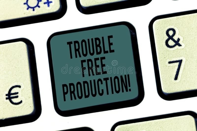 Word writing text Trouble Free Production. Business concept for Without problems or difficulties in the production. Keyboard key Intention to create computer royalty free stock photo