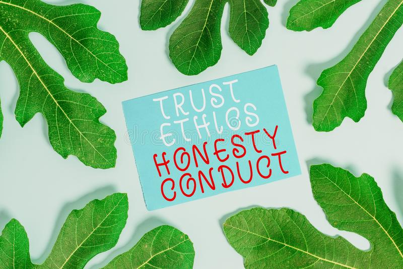 Word writing text Trust Ethics Honesty Conduct. Business concept for connotes positive and virtuous attributes. Word writing text Trust Ethics Honesty Conduct royalty free stock photos