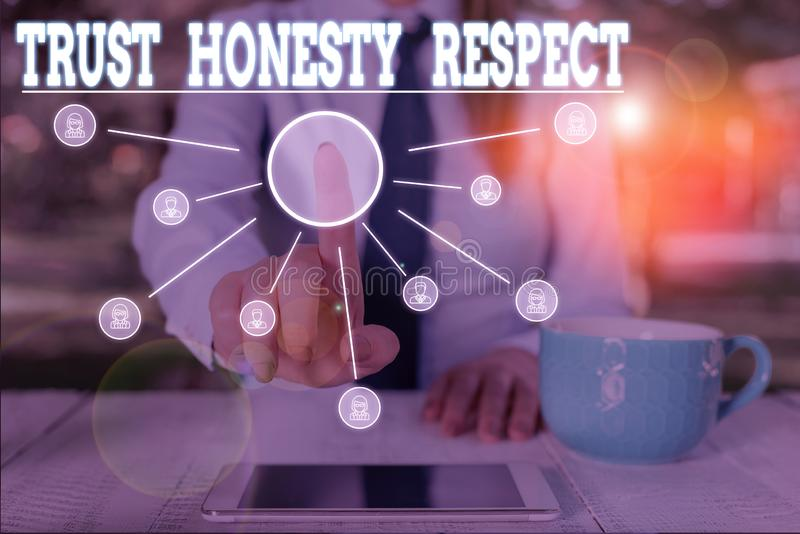 Word writing text Trust Honesty Respect. Business concept for Respectable Traits a Facet of Good Moral Character Woman. Word writing text Trust Honesty Respect stock photos