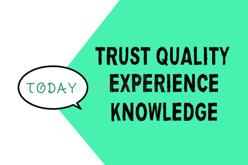 Word writing text Trust Quality Experience Knowledge. Business concept for Customer quality service and satisfaction.  royalty free illustration