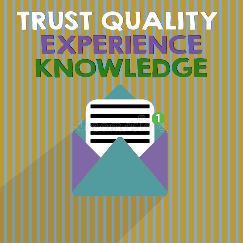 Word writing text Trust Quality Experience Knowledge. Business concept for Customer quality service and satisfaction.  stock illustration