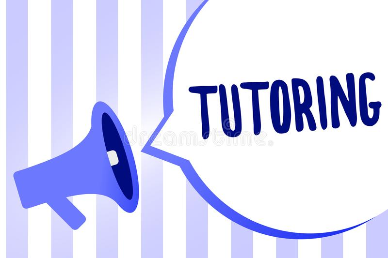 Word writing text Tutoring. Business concept for An act of a person employed to administer knowledge to someone Megaphone loudspea. Ker loud screaming scream vector illustration