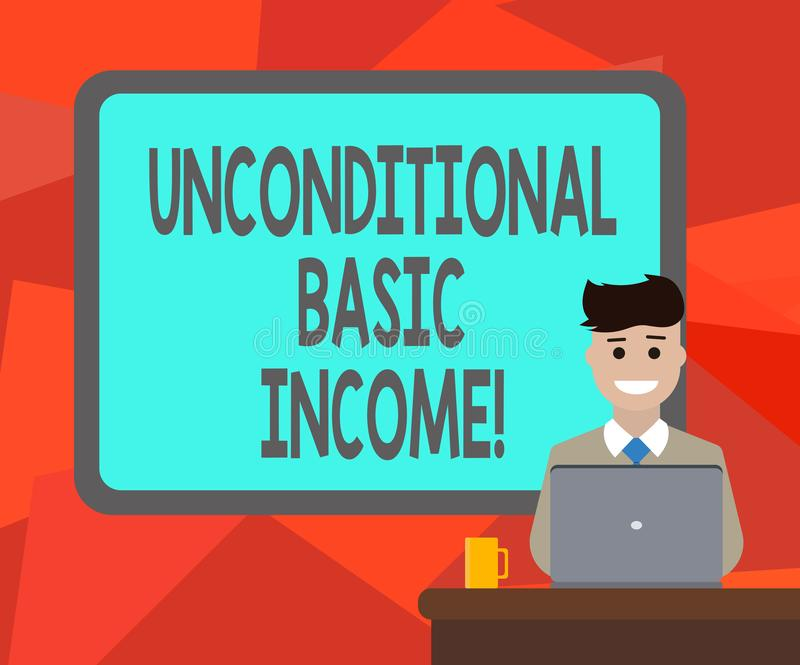 Word writing text Unconditional Basic Income. Business concept for paid income without a requirement to work Blank. Bordered Board behind Man Sitting Smiling stock illustration