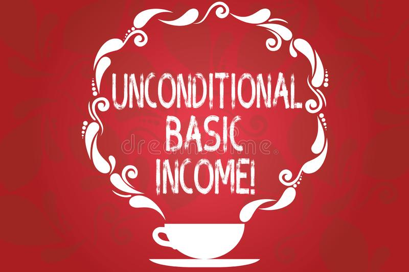 Word writing text Unconditional Basic Income. Business concept for paid income without a requirement to work Cup and. Saucer with Paisley Design as Steam icon royalty free illustration