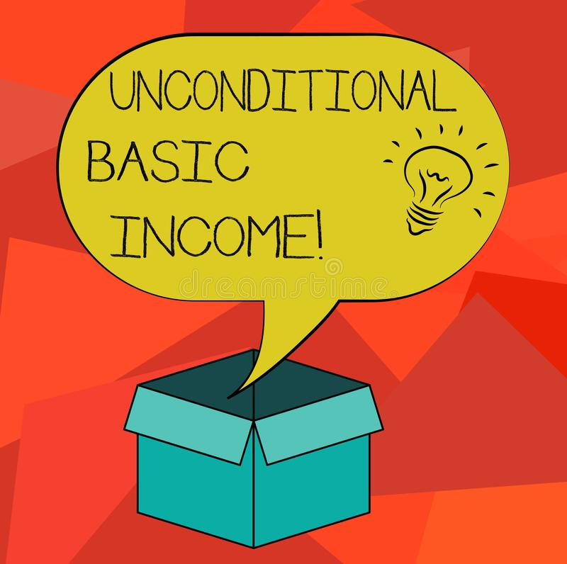 Word writing text Unconditional Basic Income. Business concept for paid income without a requirement to work Idea icon. Inside Blank Halftone Speech Bubble Over royalty free illustration