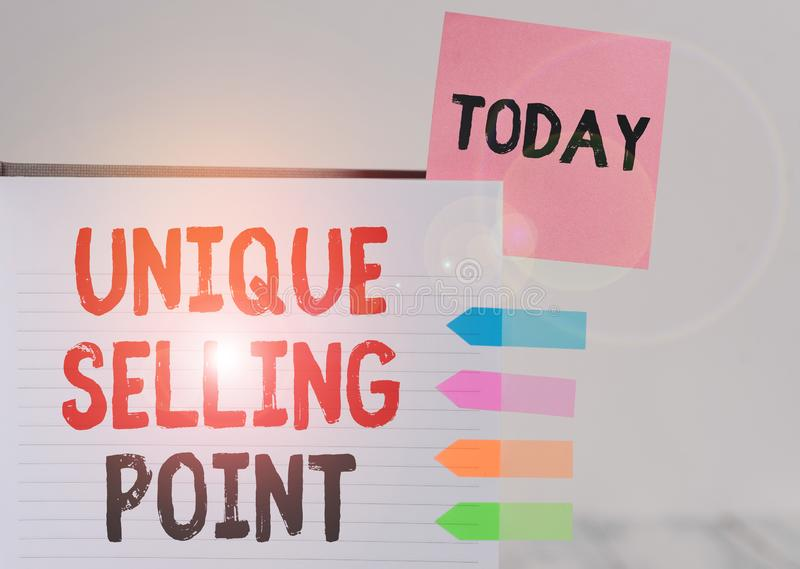 Word writing text Unique Selling Point. Business concept for Differentiate a Product Specific Features and Benefits Hard. Word writing text Unique Selling Point stock images