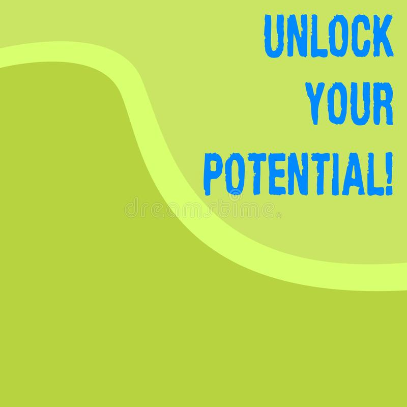 Word writing text Unlock Your Potential. Business concept for access your true skills and powers Believe in yourself. Word writing text Unlock Your Potential vector illustration