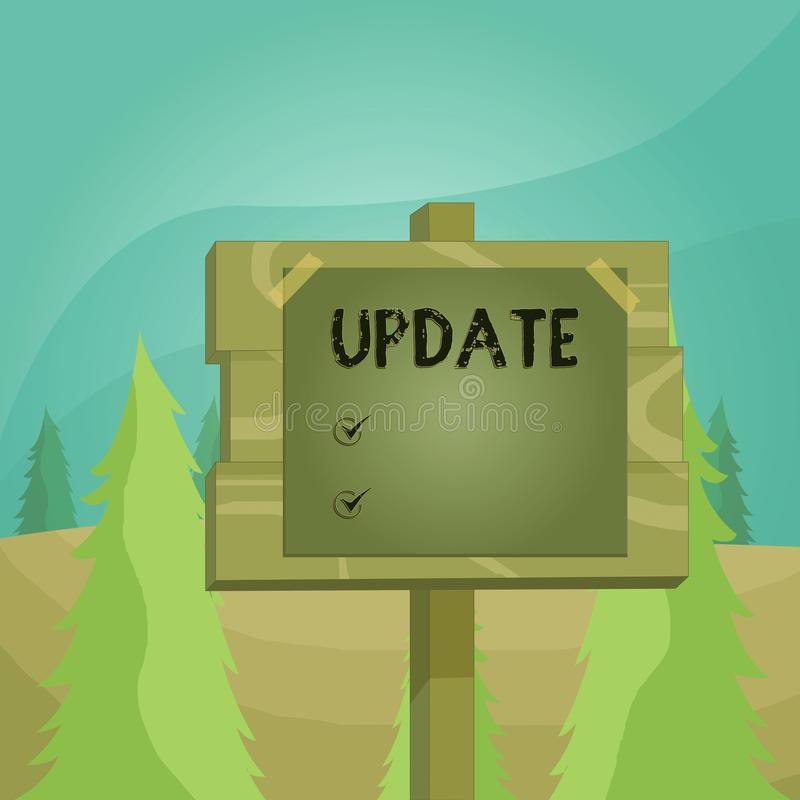 Word writing text UPDATE. Business concept for make something more modern or up to date like software program Wood plank. Word writing text UPDATE. Business stock illustration