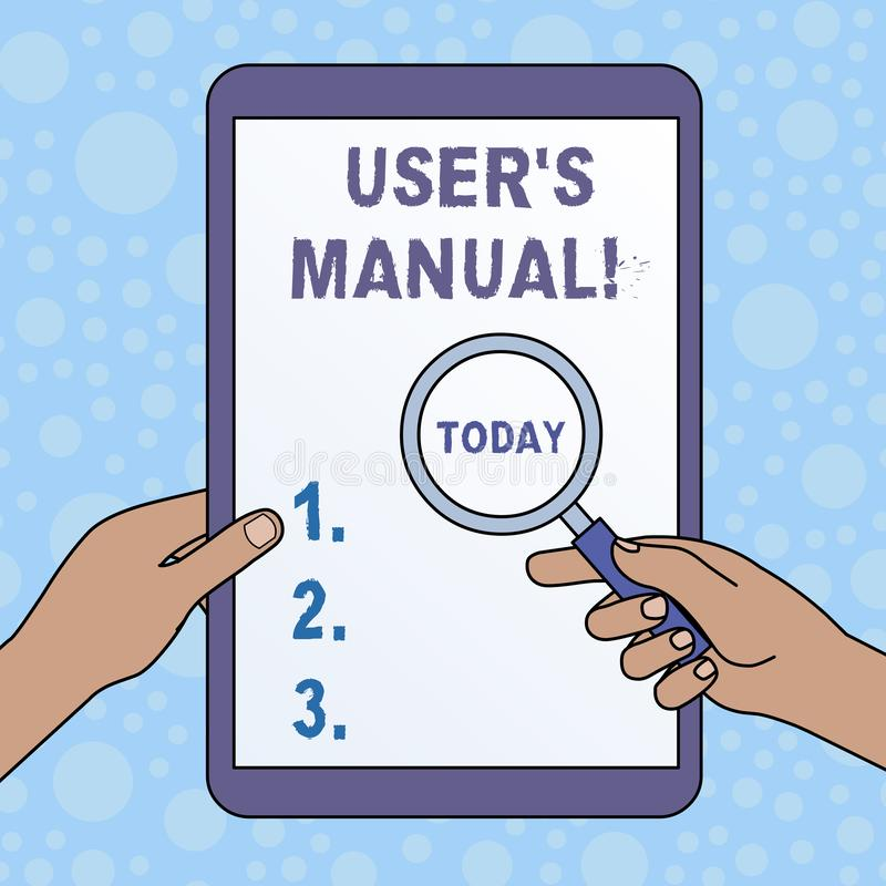 Word writing text User S Is Manual. Business concept for Contains all essential information of the product Hands Holding stock illustration