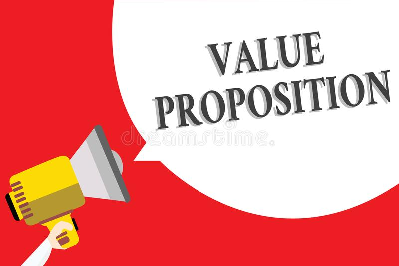 Word writing text Value Proposition. Business concept for service make company or product attractive to customers Announcement spe. Aker script convey idea royalty free illustration
