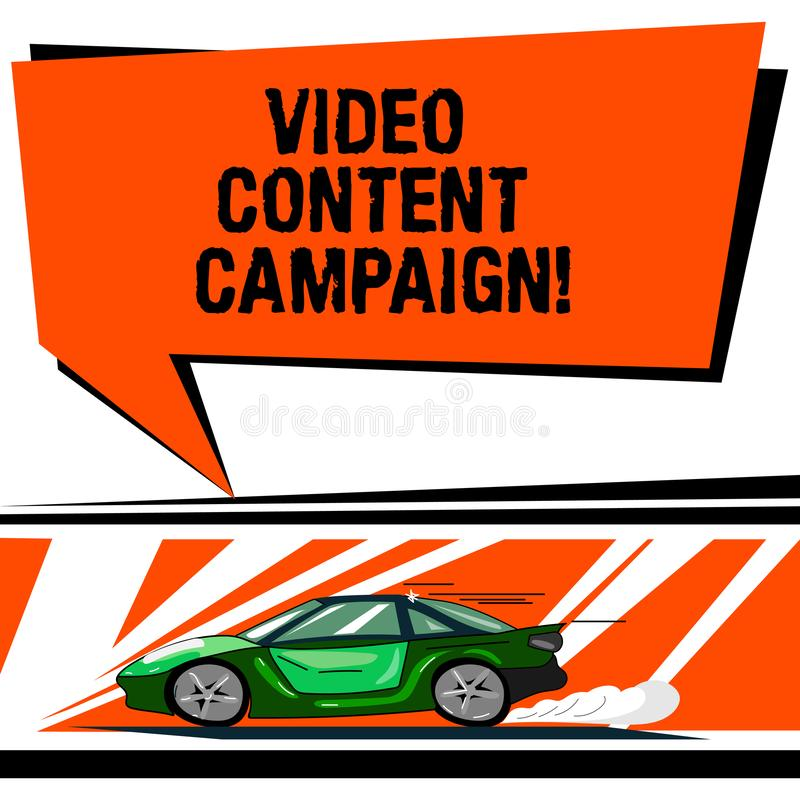 Word writing text Video Content Campaign. Business concept for Integrates engaging video into marketing campaigns Car. With Fast Movement icon and Exhaust Smoke stock illustration