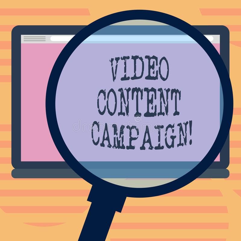 Word writing text Video Content Campaign. Business concept for Integrates engaging video into marketing campaigns. Magnifying Glass Enlarging Tablet Blank Color royalty free illustration